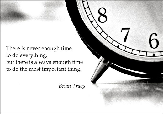There is never enough time to do everything, but there is always enough time to do the most important thing. (Brian Tracy)