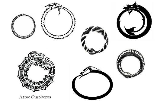 Ouroboros symbols black and white