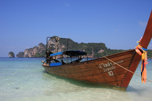 Wooden boat on Monkey Beach