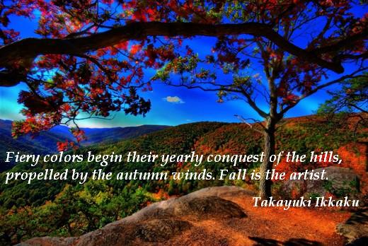 Fiery colors begin their yearly conquest of the hills, propelled by the autumn winds. Fall is the artist. (Takayuki Ikkaku)