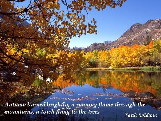 Autumn burned brightly, a running flame through the mountains, a torch flung to the trees. (Faith Baldwin)