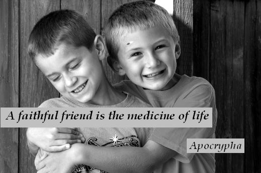 A faithful friend is the medicine of life. - Apocrypha