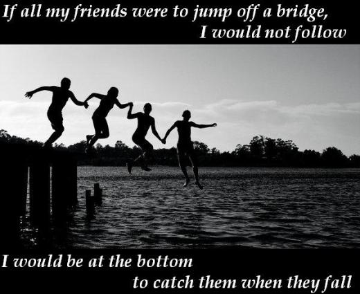If all my friends were to jump off a bridge, I would not follow, I would be at the bottom to catch them when they fall
