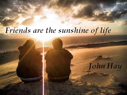 Friends are the sunshine of life. - John Hay