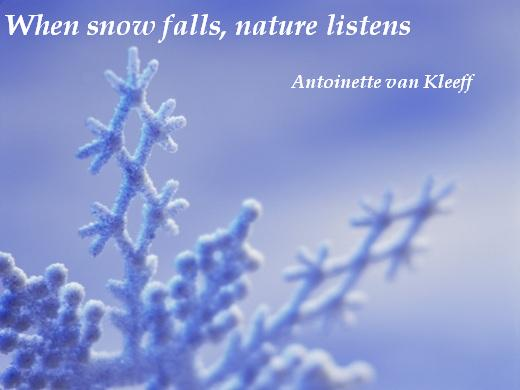When snow falls, nature listens.  (Antoinette van Kleeff)
