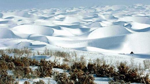 The Taklamakan desert snow