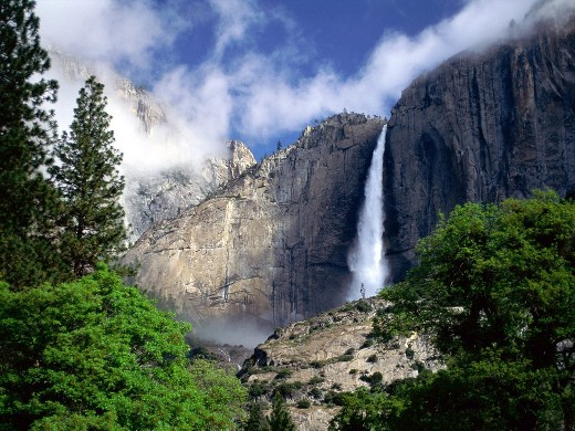 The Yosemite Falls is the highest measured waterfall in North America