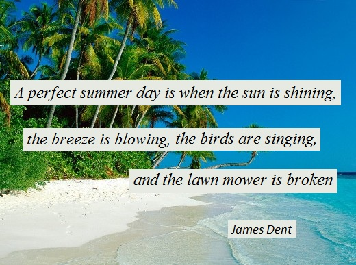 A perfect summer day is when the sun is shining, the breeze is blowing, the birds are singing, and the lawn mower is broken. (James Dent )