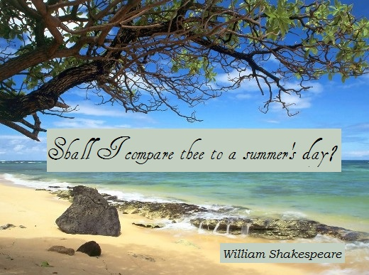Shall I compare thee to a summer's day? (William Shakespeare)
