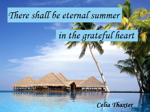 There shall be eternal summer in the grateful heart. (Celia Thaxter)