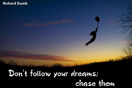 Don't follow your dreams; chase them. (Richard Dumb)