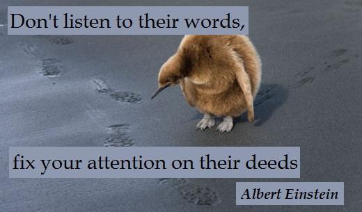 Don't listen to their words, fix your attention on their deeds. (Albert Einstein)