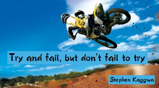 Try and fail, but don't fail to try. (Stephen Kaggwa)